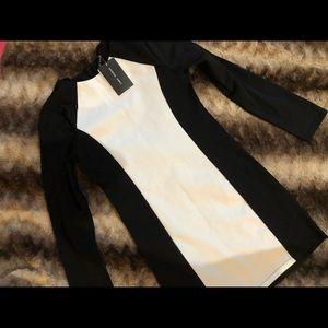 Black and white long sleeve mini dress